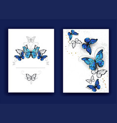 Brochure design with butterflies morpho vector