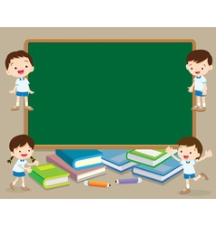Children and chalkboard vector