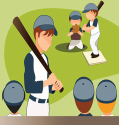 Children-playing-baseball vector image vector image
