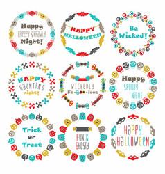 cute colorful happy halloween circle border set vector image vector image