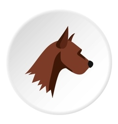 Dog head icon flat style vector