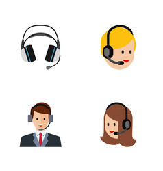 Flat icon center set of service earphone hotline vector