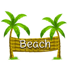 Font design for beach on coconut tree vector