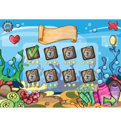 Game elements for underwater game theme vector image vector image