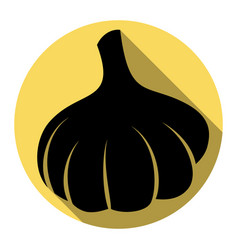 Garlic simple sign flat black icon with vector