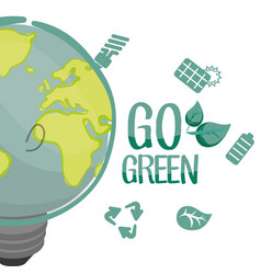 go green environment bulb panel recycle vector image