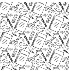 Hand drawn seamless pattern with school vector