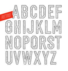Handmade retro font blak letters on white vector