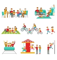 Happy family having good time together set of vector
