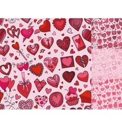 Hearts hand drawing doodleseamless patternpink vector