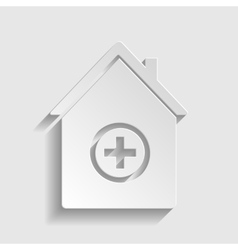 Hospital sign paper style icon vector