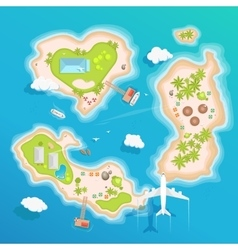 Islands top aerial view - travel tourism vector