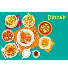 Meat dishes with fresh salads icon design vector