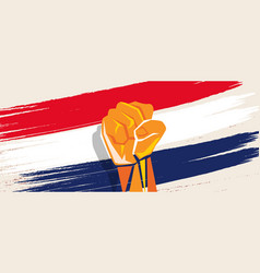 netherlands dutch flag independence painted brush vector image