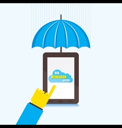 Online big monsoon offer banner design using touch vector