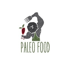Paleo food caveman design template vector