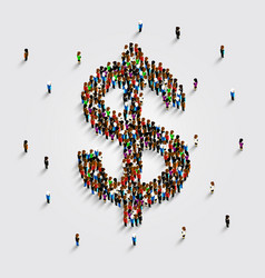 People stand in the shape of a dollar money symbol vector