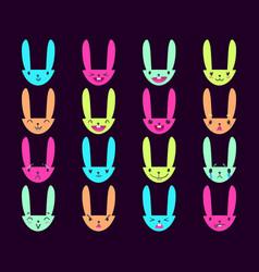 Rabbit handdrawn emoticons color 5 vector