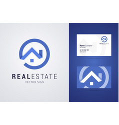 Real estate logo and business card template vector