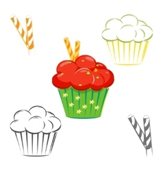 Red topping cupcake set vector image vector image