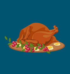Roasted whole chicken or turkey sauced and grilled vector
