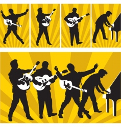 rock and roll silhouettes vector image