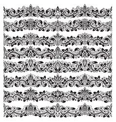 Set of vintage border brushes templates baroque vector