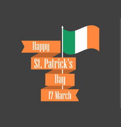 Stpatrick s day ribbon with text and ireland vector
