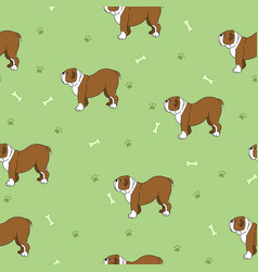 Unusual seamless pattern with cute dogs bones and vector
