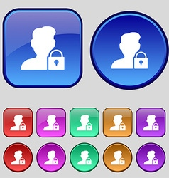 User is blocked icon sign a set of twelve vintage vector