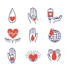 Volunteer icons set vector