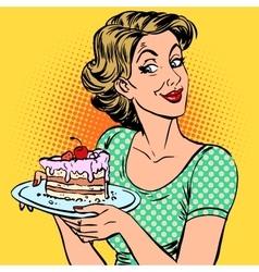 Woman dessert cake vector