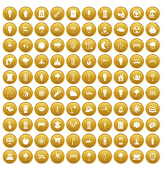100 street lighting icons set gold vector