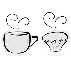 Cup of tea and cake vector