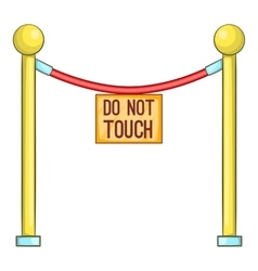 Red rope barrier with sign do not touch icon vector