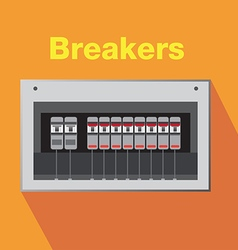 Breakers switch on off vector