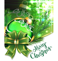 Green bow and christmas bauble vector