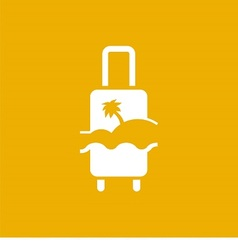 Logo with suitcase palm and beach vector