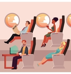Set of male and female airplane passengers in vector
