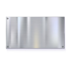 Shiny brushed metal plate banners on white vector