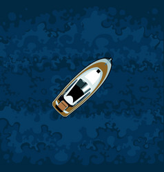 Painted motor boat on the background of blue water vector