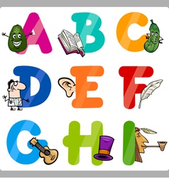 Education cartoon alphabet letters for kids vector