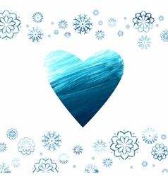 Acrylic background with a heart and snowflakes vector