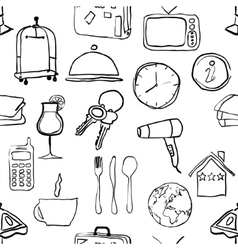 Seamless doodle hotel pattern vector