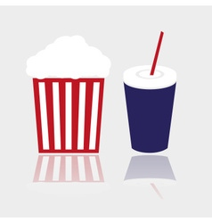 Simple popcorn and cola drink for cinema eps10 vector