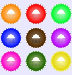 Shower icon sign a set of nine different colored vector