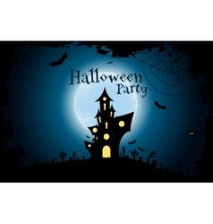 Grungy halloween party background with haunted vector