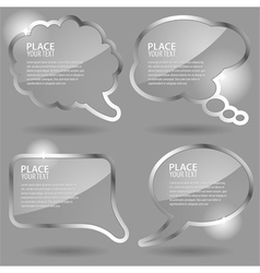 Glass speech and thought bubbles vector