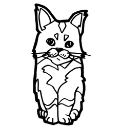 Cat coloring page isolated on white vector