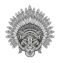 Hand drawn patterned tiger in zentangle style with vector